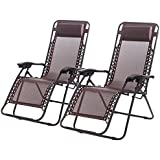 FDW New Zero Gravity Chairs Case Of 2 Lounge Patio Chairs Outdoor Yard Beach