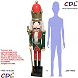 CDL 48'' 4ft tall life-size large/giant green Christmas wooden nutcracker king on stand holds golden scepter for indoor outdoor Xmas/event/ceremonies/commercial decoration(4 feet,king green k27)