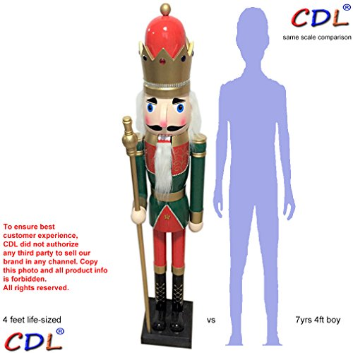 CDL 48'' 4ft tall life-size large/giant green Christmas wooden nutcracker king on stand holds golden scepter for indoor outdoor Xmas/event/ceremonies/commercial decoration(4 feet,king green k27) by ECOM-CDL