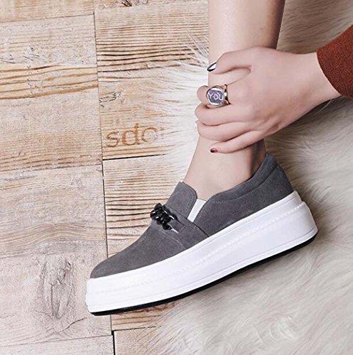 Zapatos Planos de Plataforma de Mujer Zapatos de Diseño de Cadena de Metal de Confort Ligero Solo Gris/Rosa Tamaño 34-39 (Color : Gris, Tamaño : 39)