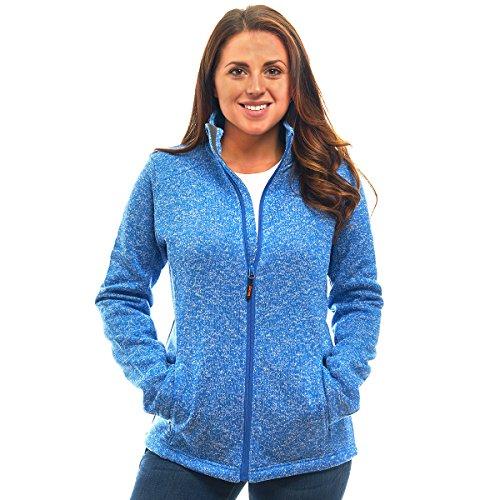 Womens Unique Knit Sweater Speckled Zip Up Fleece Jacket, All Season Heather Cardigan ()
