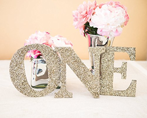ONE Sign First Birthday Sign in Glitter - Wooden ONE Letters First Birthday Princess Birthday Decor in Glitter One - Wooden Glitter