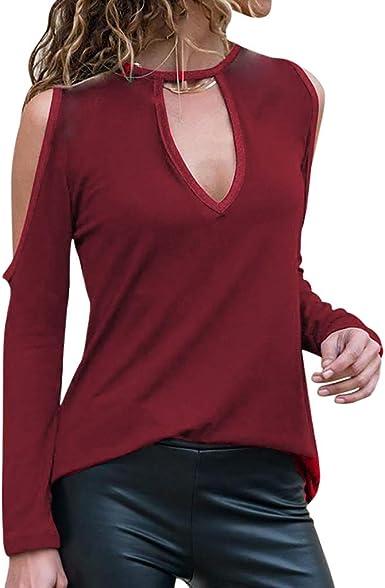 veyikdg - Blusa de Manga Larga para Mujer, Cuello Redondo, Color sólido, Suave y cómoda, Informal, para Uso Diario Rojo Wine M: Amazon.es: Ropa y accesorios