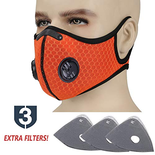 (Cevapro Upgraded Dustproof Masks, Dust Mask with Extra N99 Activated Carbon Filter - Anti Pollution Mask Allergy PM 2.5 Half Face Masks for Biking Motorcycling Running (1 Orange+3 Filters))