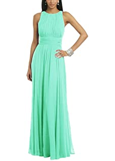 Uther Women Fashion Pleated Chiffon Sleeveless Floor Length Evening Prom Dress
