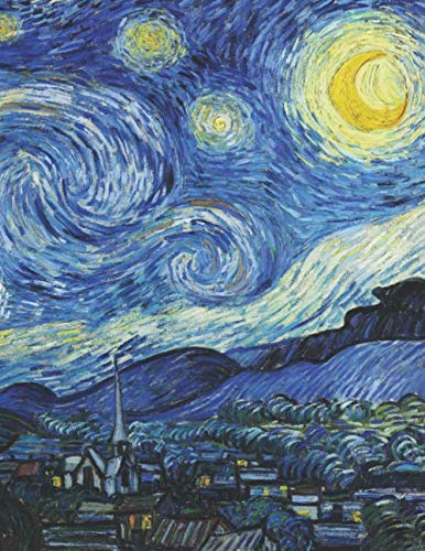 Vincent Van Gogh Black Paper Sketchbook: Starry Night | Large Artsy All Black Blank Pages Sketch Pad | Art Notebook for Painting & Drawing with Bright ... Metallic Markers, Chalk or other Art Supplies