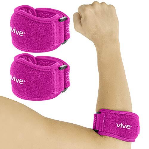 (Vive Tennis Elbow Brace (Pair) - Rheumatoid Arthritis Strap for Bursitis, Golfers, Lateral & Medial Epicondylitis, Tendinitis - Padded Compression Arm Support Band - Adjustable Forearm Pain Relief)