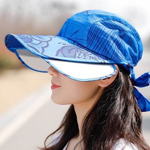 LIZHONG-SLT The summer sun visor hat all-match UV sun hat thin face covering empty top speed dry cap,Size adjustable (distribution wind rope),Royal Blue