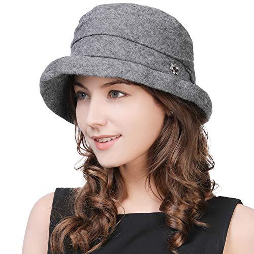 Womens Derby 1920s Fedora Round Bucket Felt Winter Bowler Cloche Beret Painter Boiled 35% Wool Hat Cloche Gray