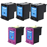 HI-VISION HI-YIELDS ® Remanufactured Ink Cartridge Replacement for HP 61XL (3 Black, 2 Color, 5-Pack), Office Central