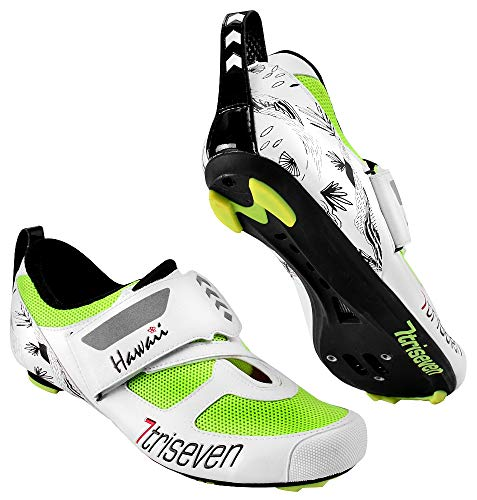 TriSeven Premium Nylon Triathlon Cycling Shoes | Lightweight, Unisex & Fiberglass Sole (45, Fluo)