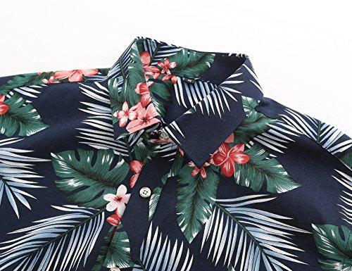 Camisa Para Flores Hawaiana Corta Casual Manga Hombre Jeetoo De Navyflores ZadH7dq