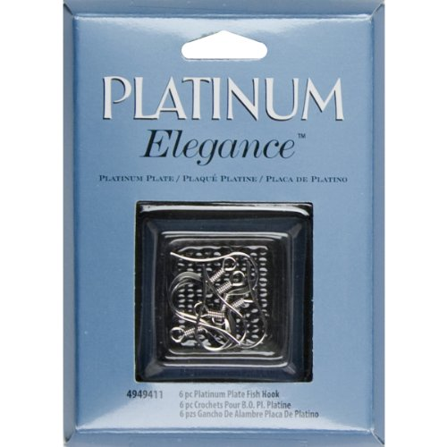 (Cousin Platinum Plate Fish Hook, 6-Piece)