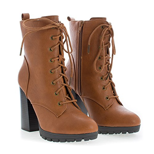 Platform Heel Lace Whisky Combat Up Sole Pu High Block Boots Lug w6aqatfxB