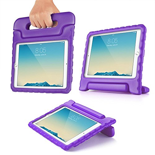 TNP iPad Mini Case - Kids Shock Proof Soft Light Weight Childproof Impact Drop Resistant Protective Stand Cover Case with Handle for iPad Mini 3 & iPad Mini 2 (Purple)