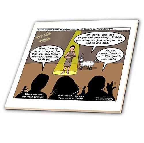 3dRose ct_19532_2 1St Samuel 16 14 23 Israeli Idol Bible American Idol David Sheep Randy Paula Simon Adam & Eve Ceramic Tile, 6