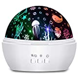 Moredig Ocean Projector, 360° Rotating Night Light Projector with Star and Undersea Theme for Kids, Baby Bedroom Decoration - White