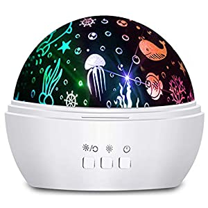 Moredig Ocean Wave Projector, 360° Rotating Night Light Projector with Star and Undersea Theme for Kids, Baby Bedroom Decoration – White