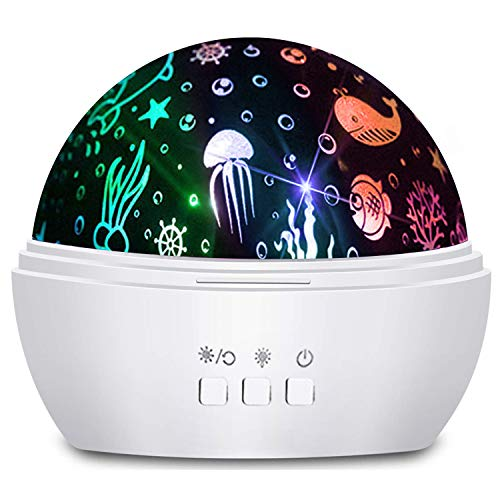 Moredig Ocean Wave Projector, 360° Rotating Night Light Projector with Star and Undersea Theme for Kids, Baby Bedroom Decoration - White (Baby Projectors)