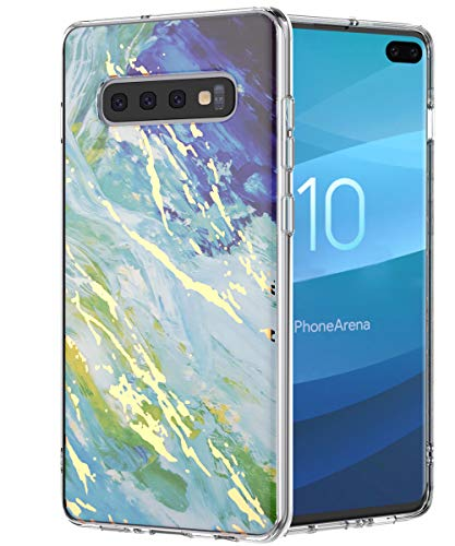 Galaxy S10+ Plus Case,Spevert Marble Pattern Hybrid Hard Back Soft TPU Raised Edge Ultra-Thin Slim Cover Protective Case Compatible Samsung Galaxy S10+ Plus 6.4 inch (2019 Released)- Blue Green