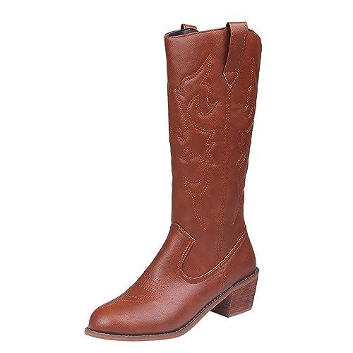 OHQ Zapatos De TacóN Cuadrado para Mujer Tubo Medio Botas Sin Cordones Martin Botas De Punta Redonda Botines: Amazon.es: Zapatos y complementos