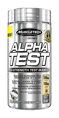 MuscleTech Pro Series AlphaTest, Max Strength Testosterone Booster, 120 Rapid Release Capsules