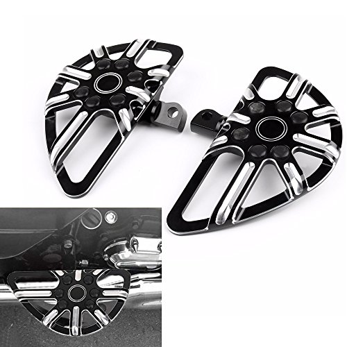 CNC Billet Front Driver Floor Board Pedal Rear Passenger Tomahawk Hollow Floorboards Foot Pegs Rest For Harley Sportster Fatboy Dyna Softail Touring Street Road Glide Road King Male Mount(Pack 2) ()