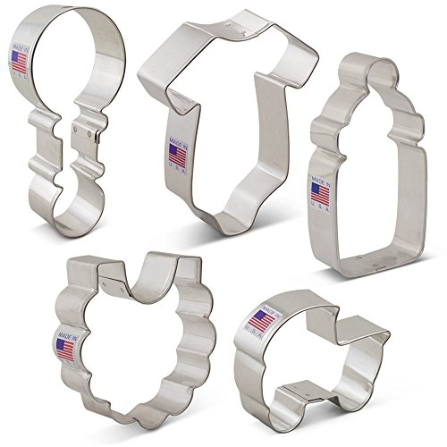 - Baby Shower Cookie Cutter Set - 5 Piece - Onesie, Bib, Rattle, Bottle, and Baby Carriage - Ann Clark Cookie Cutters - US Tin Plated Steel