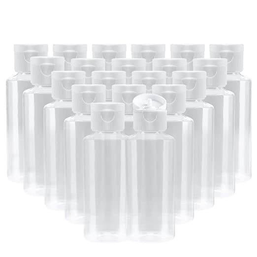 Bekith 2 oz Clear Plastic Empty Bottles Travel Containers with Flip Cap - BPA-free - Set of 20