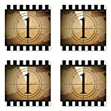 Ambesonne Movie Theater Coaster Set of Four, Grunge Countdown Frame with the Number 1 in a Circle Film Strip, Square Hardboard Gloss Coasters for Drinks, Pale Brown Black White