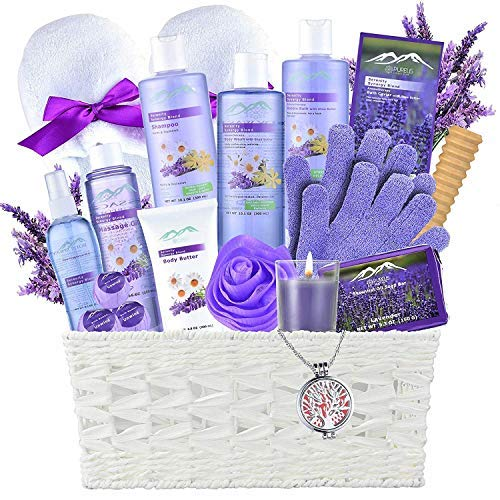 Gift Baskets -the #1 Choice Mothers Day Gift Ideas-Bath and Body Spa Basket For Women & Men. Lavender Home Spa Set includes 20 Spa Gifts with Essential Oil Necklace!Beauty Baskets-best Holiday Gifts!