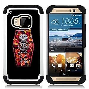 """Pulsar ( Cráneo ataúd Muerte Diamond Esqueleto"""" ) HTC One M9 /M9s / One Hima híbrida Heavy Duty Impact pesado deber de protección a los choques caso Carcasa de parachoques"""