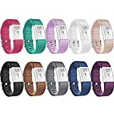 Fitbit Charge 2 Bands, New Bracelet Strap Replacement Band Wristband with Secure Silicone Fasteners Metal Clasps for Fitbit Charge 2 (No Tracker) (Style B: 10Pcs, 5.7 - 8.2 Inches wrist)