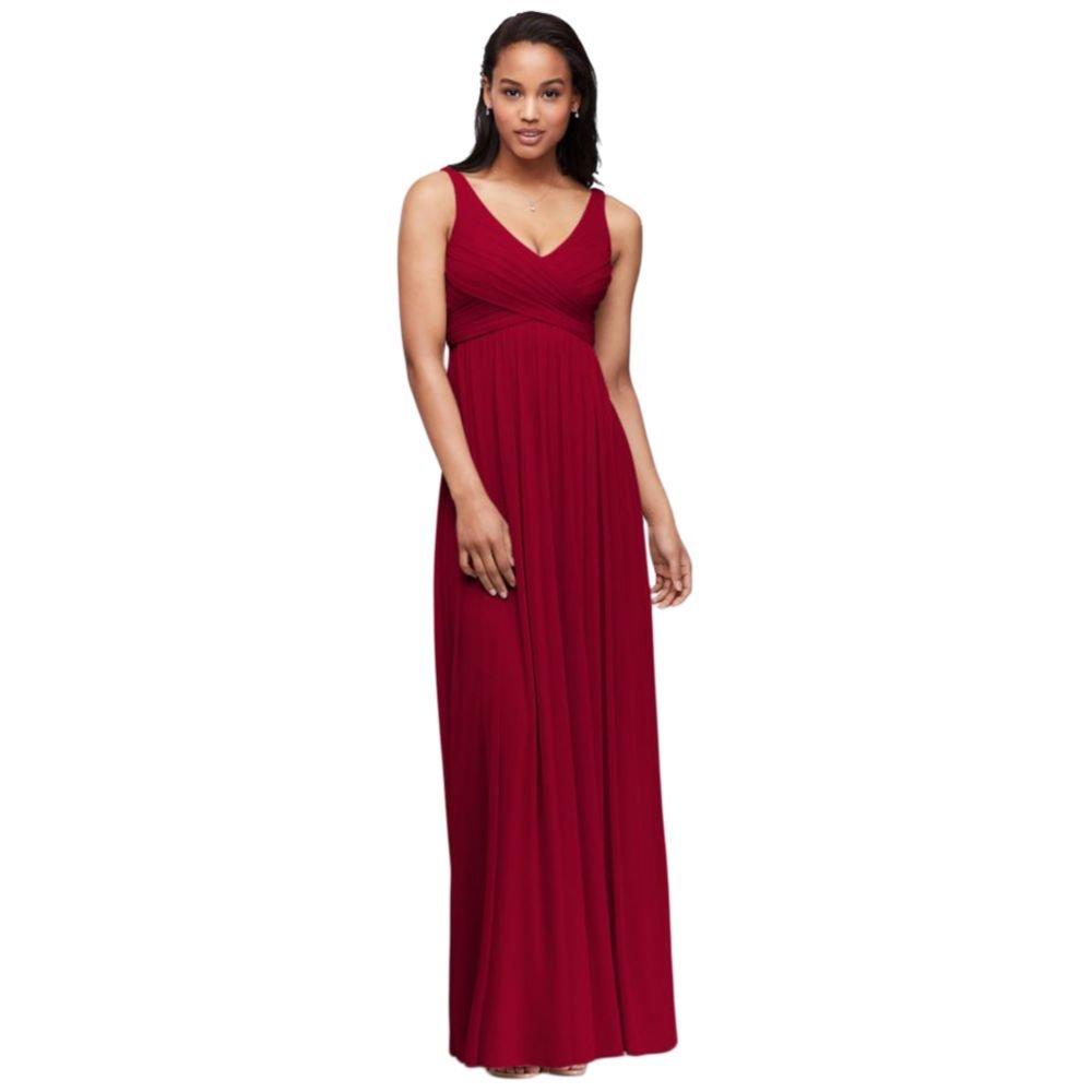 6bbeb76d518 David s Bridal Long Mesh Bridesmaid Dress with Cowl Back Detail Style F15933  at Amazon Women s Clothing store