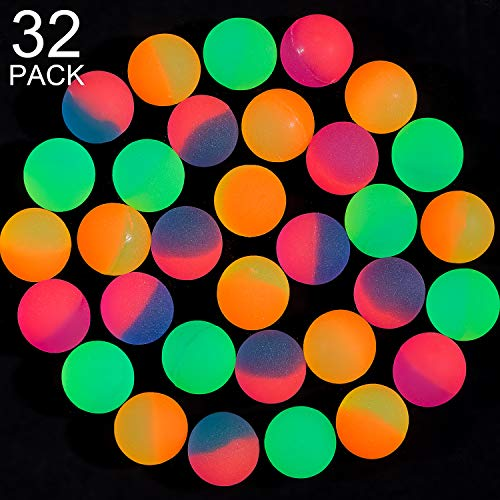 Glow In The Dark Bouncy Balls (Gejoy 32 Pieces Bouncy Balls, ICY Balls - 27 mm Vibrant 2 Tone Color Bouncy Balls for Party Favors, Bag)