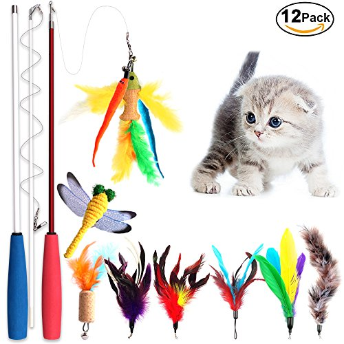 Cat Wand Teaser (Cat Feather Toy, Cat Toy Wand Sold by Peroom, 12 pcs Retractable Interactive Cat Teaser Wand Toy Set, Included 2 Wands & 10 Refills Feathers)