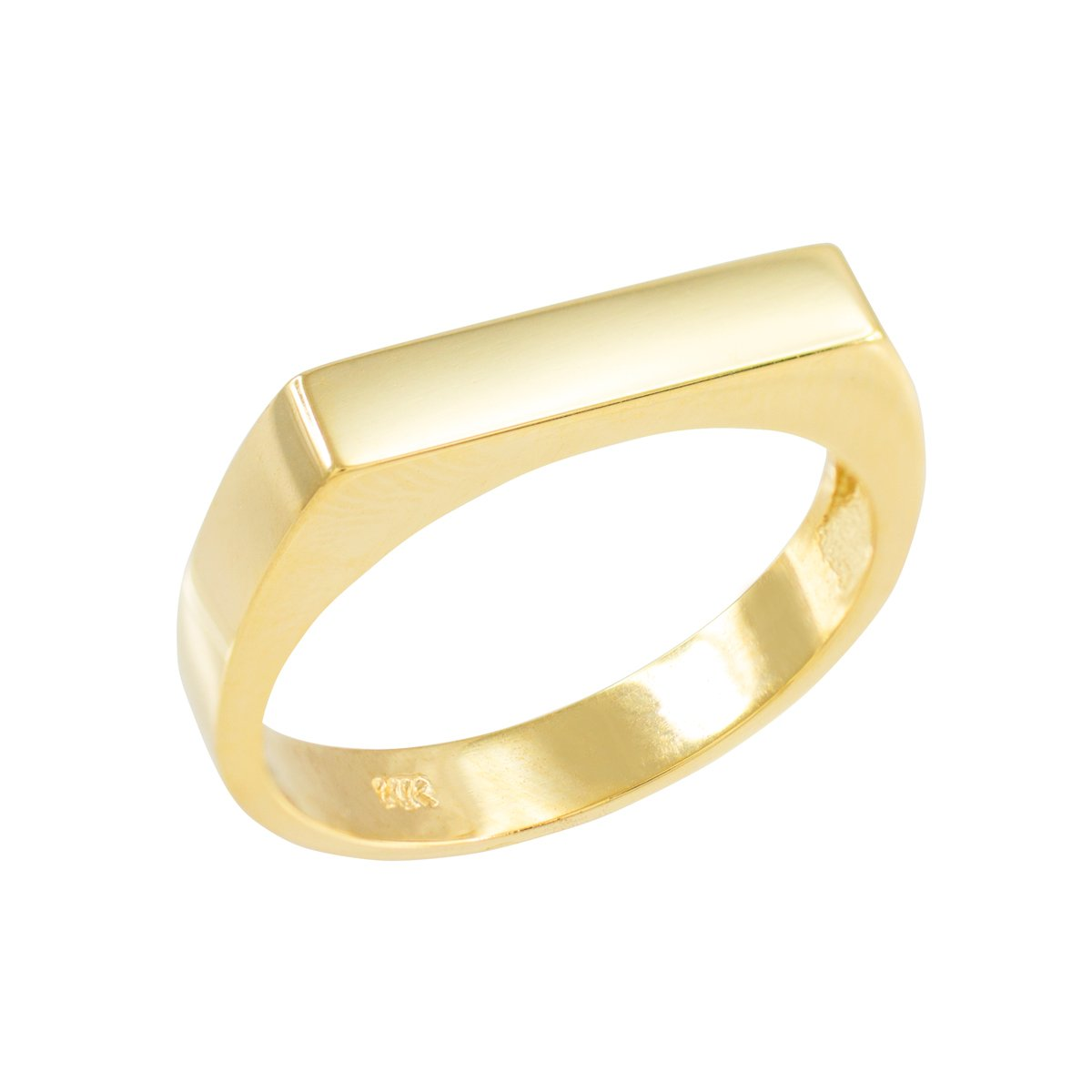 Modern Contemporary Rings Stackable 10k Yellow Gold Custom Engravable Flat Top Signet Ring (Size 10.5)