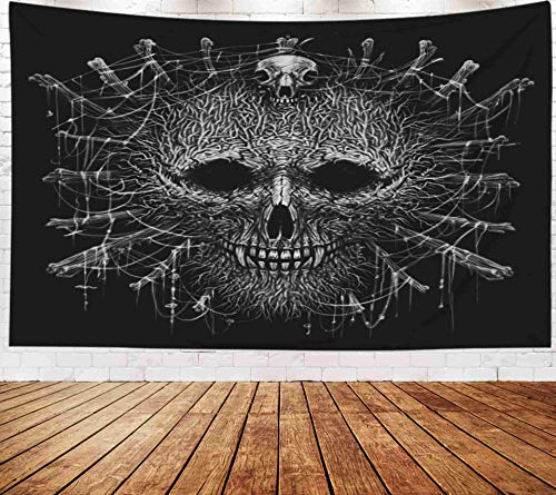 Psychedelic Hanging Wall Tapestry,Art Tapestry,Musesh Tapestries Wall Hanging for Bedroom Living Room Decor Inhouse 80x60 Inches Size Totem Shaman Mask Head Werewolf Voodoo Ritual Graphic Illustratio]()