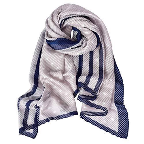 - Long Chiffon Pleated Silk Scarf Thin Beach Sunscreen Scarf Shawl Ladies for Travel Vacation Beach Towels (Color : B)