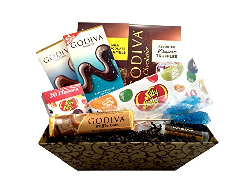 Godiva & Jelly Belly Deluxe Gift Basket with Godiva Tablet Bars, Godiva Wrapped Dessert Truffles & More plus includes a Jarosa Organic Lip Balm