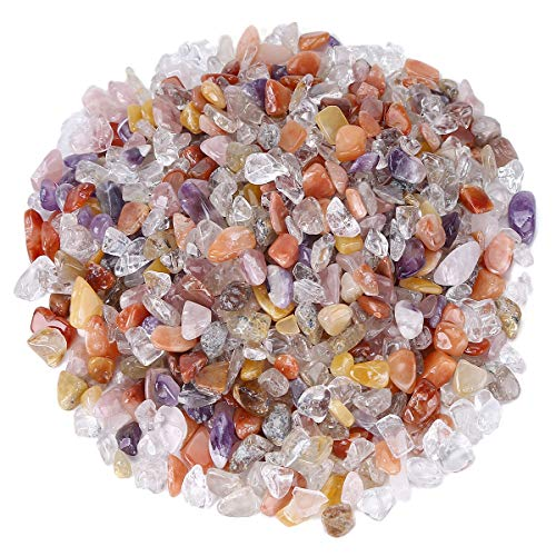 favoramulet Mixed Crystal Tumbled Stone Chips, Polished Crushed Healing Crystal Quartz Pieces Vase Filler 1 LB