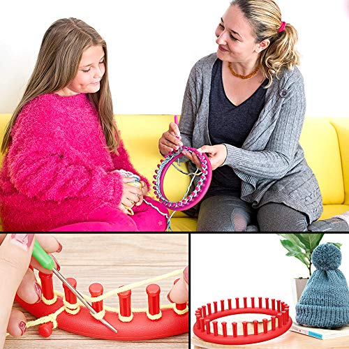 VGOODALL Round Knitting Loom Set Circular Loom Set with 12 Skeins Acrylic Yarn for Hat Scarf Shawl Sweater Sock Knitter
