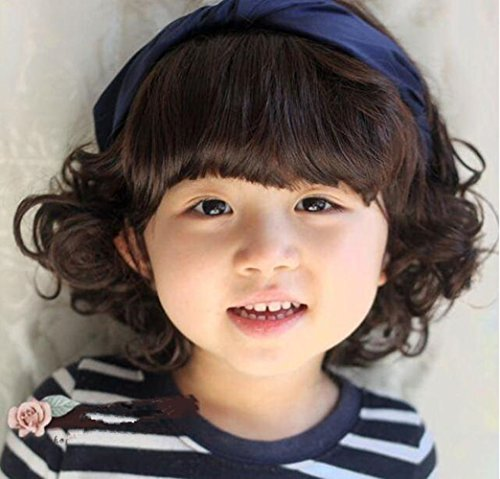 Child Cosplay Wig Curly Hair Lovely Bang Wig For Kids