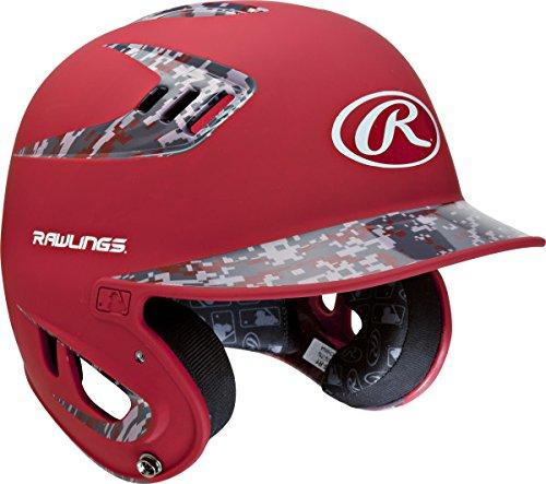 Rawlings 80 MPH Two Tone Matte with Digi Camo Batting Helmet, Scarlet, Junior