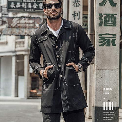 Biddtle Uomo Casuale Sciolto Trench Coat Chiusura con Bottoni Tasche Risvolto Manica Lunga Cappotti Hip Hop Giacca