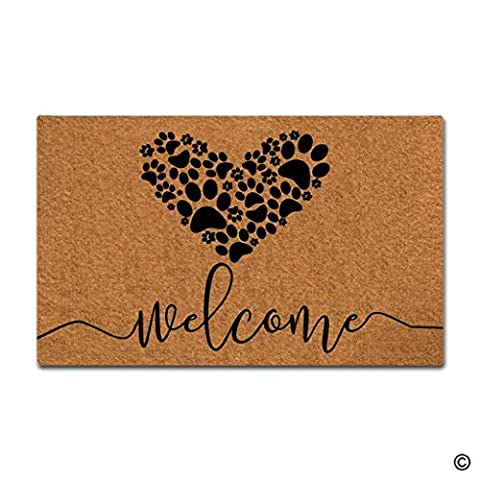 MsMr Doormat Cute Doormat Welcome Dog Paws Love Door Mat Decorative Home Indoor Outdoor Doormat Non-woven Fabric Top - Love Door Mat