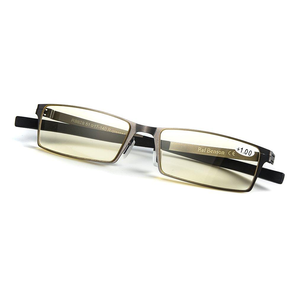 dccea75bd5c Amazon.com  Rafbenson Anti Fatigue Reading glasses in Stainless Steel  Anti-UV (Black