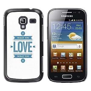 TopCaseStore / la caja del caucho duro de la cubierta de protección de la piel - White Minimalist Love Blue Text You - Samsung Galaxy Ace 2 I8160 Ace II X S7560M