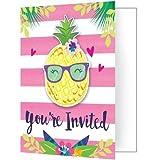 "Creative Converting 332427 Pineapple N Friends Foldover Invitation, 6x4"", Multicolor, 8ct"