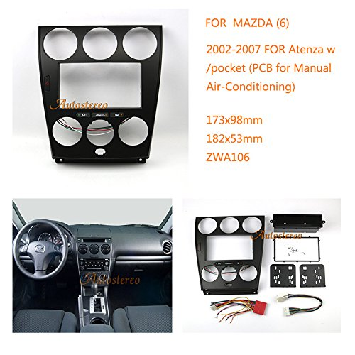 Radio Surround Trim - Autostereo Car stereo radio Facia Fascia adapter for MAZDA (6), Atenza 2002-2007 w/pocket (PCB for Manual Air-Conditioning) panel plate trim CD surround